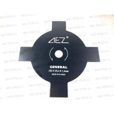 Диск косильный для бензокос, 4 зуба, наружний диаметр 255мм, посадка 25,4мм