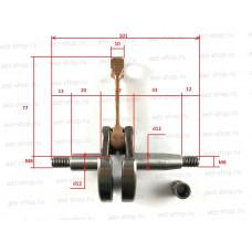 Коленвал подходит для китайских бензокос объёмом 33см3 , подшипник d-12х9, h-11,6мм